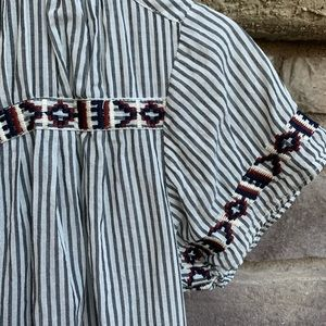 J.CREW Gray Striped Aztec Embroidered Detail Top